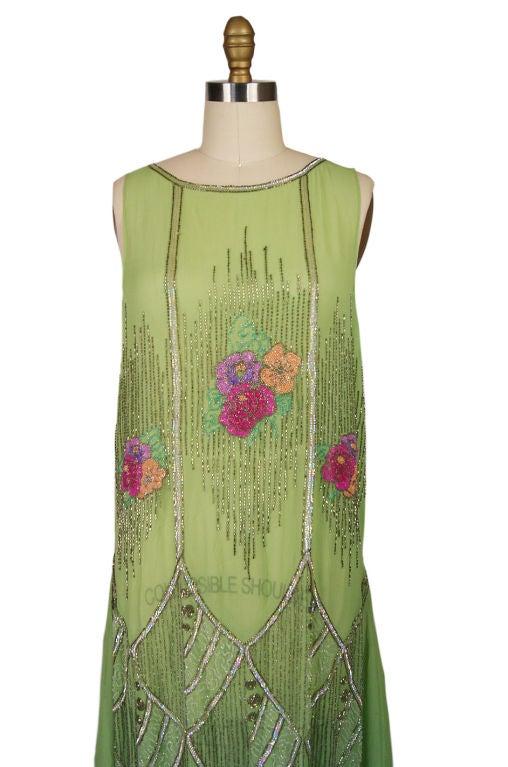 1920s Beaded Floral Green Flapper Dress 5