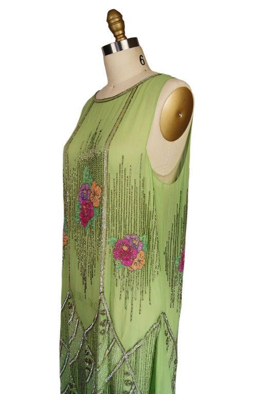 1920s Beaded Floral Green Flapper Dress 6