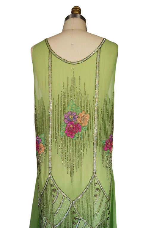 1920s Beaded Floral Green Flapper Dress 7