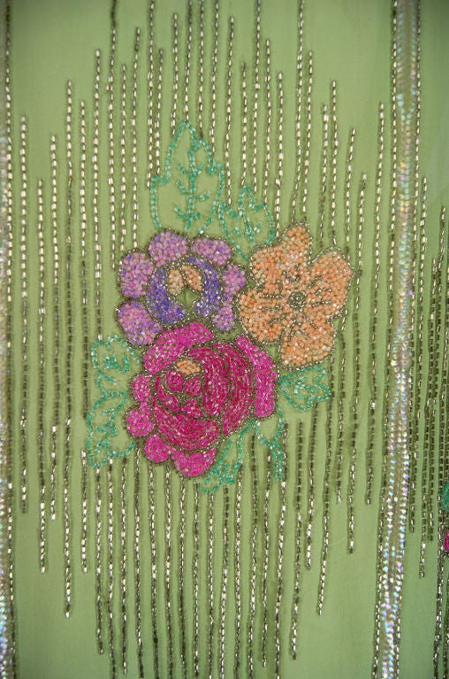 1920s Beaded Floral Green Flapper Dress 8