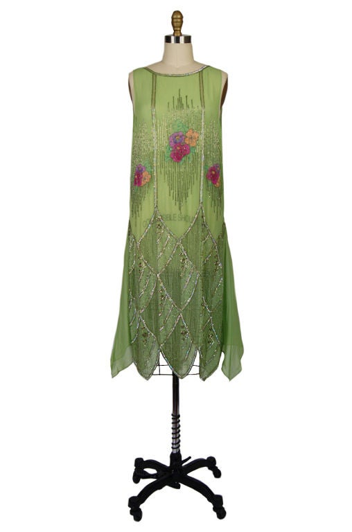 1920s Beaded Floral Green Flapper Dress 9