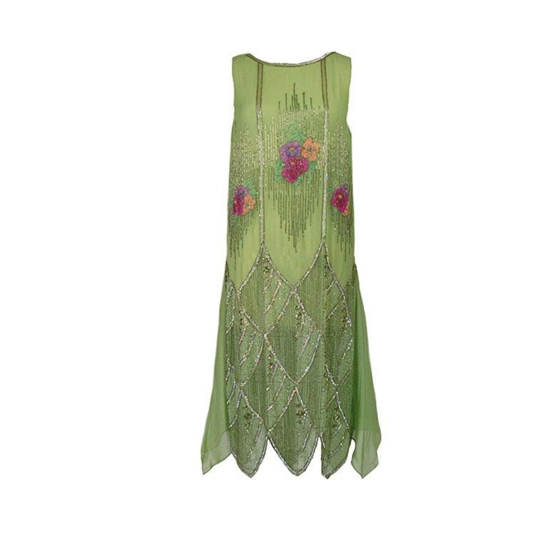 1920s Beaded Floral Green Flapper Dress 1