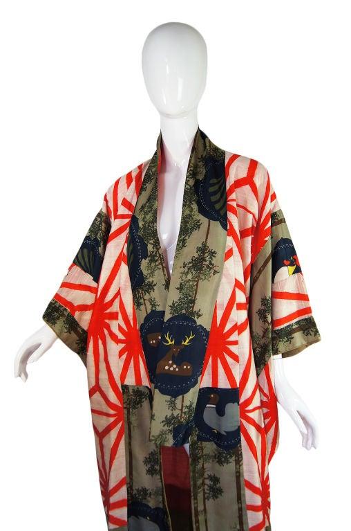 1930s deer and rooster silk under kimono at 1stdibs. Black Bedroom Furniture Sets. Home Design Ideas
