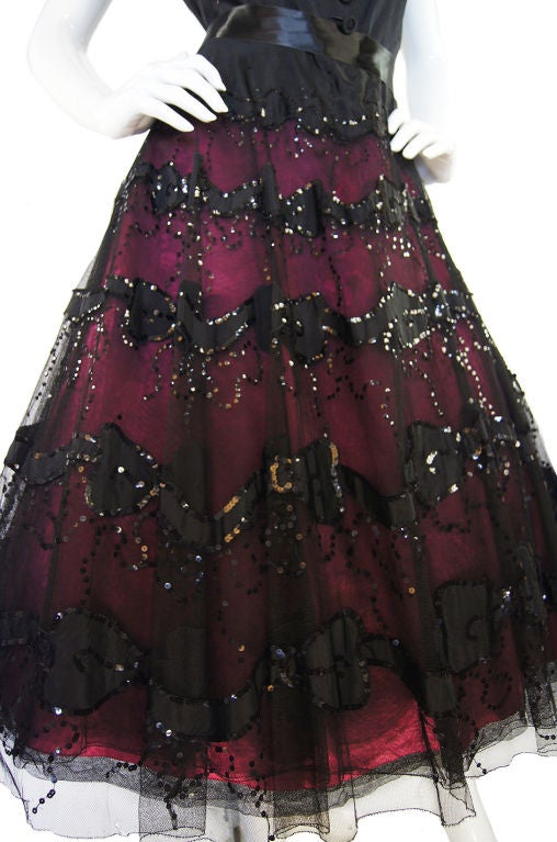 1950s Larger Sequin & Pink Skirted Dress 6