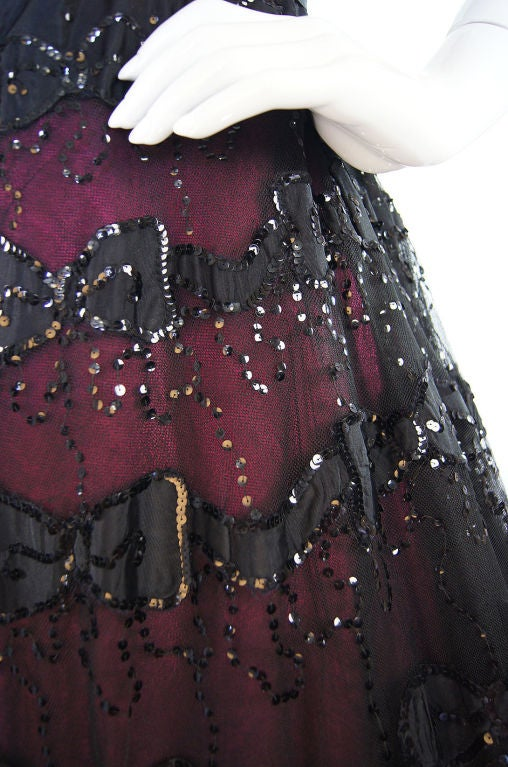 1950s Larger Sequin & Pink Skirted Dress 7