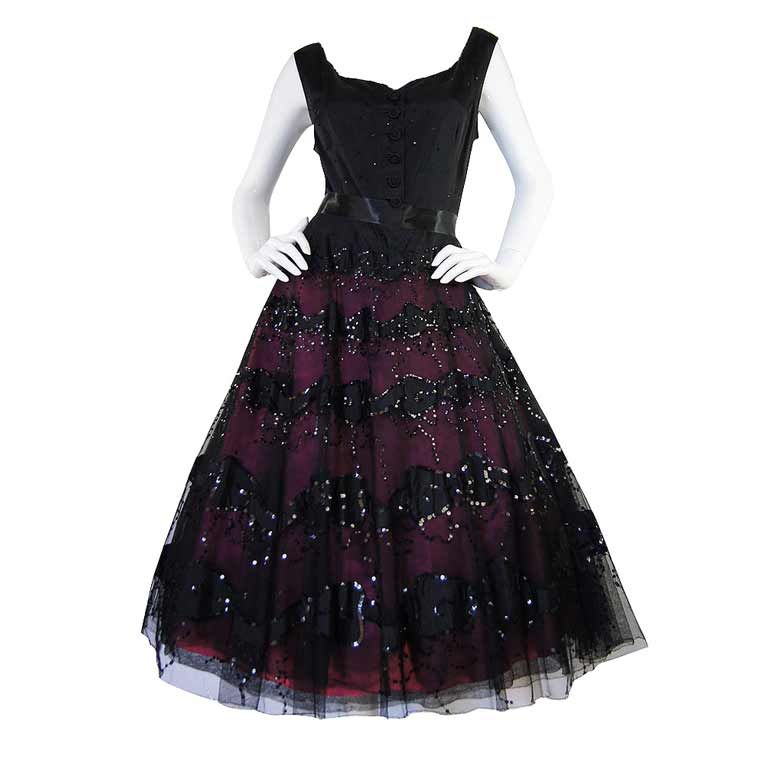 1950s Larger Sequin & Pink Skirted Dress 1