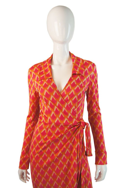 1970s Pink And Orange Dvf Silk Wrap Dress At 1stdibs