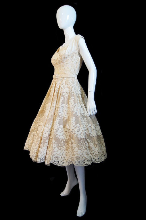 1950s Couture Jaques Fath Lace Dress For Sale 1
