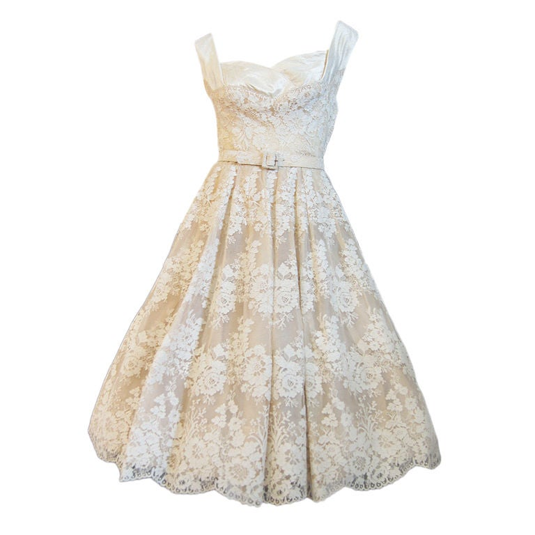 1950s Couture Jaques Fath Lace Dress For Sale