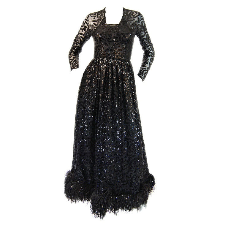 1960s Bill Blass Sequin, Silk Chiffon & Feather Detail Dress