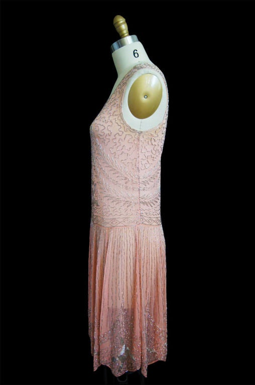 1920s Pale Pink & Silver Beaded Flapper 3
