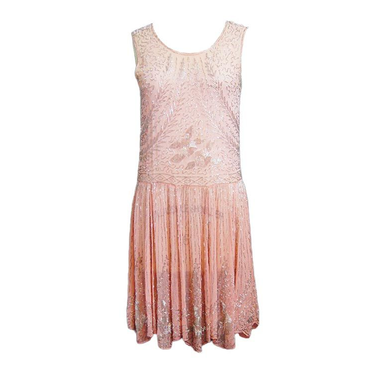 1920s Pale Pink & Silver Beaded Flapper 1