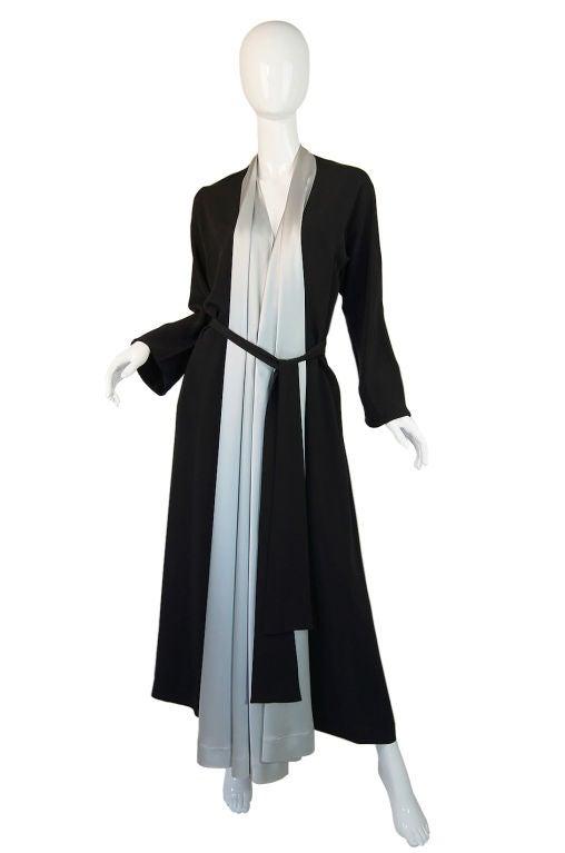 1940s Silk & Ice Blue Satin Inset Tie Gown 2
