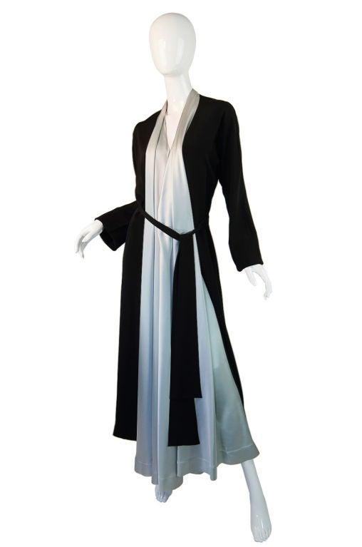 1940s Silk & Ice Blue Satin Inset Tie Gown 3