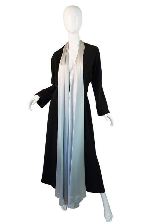 1940s Silk & Ice Blue Satin Inset Tie Gown 4
