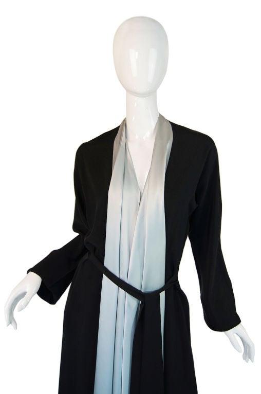 1940s Silk & Ice Blue Satin Inset Tie Gown 6