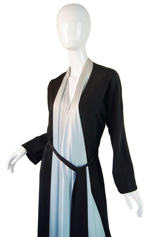 1940s Silk & Ice Blue Satin Inset Tie Gown 7