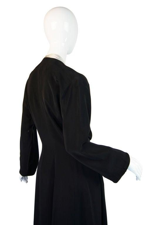 1940s Silk & Ice Blue Satin Inset Tie Gown 8