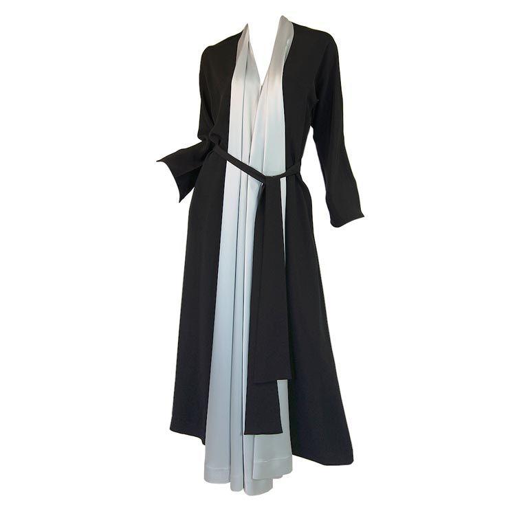 1940s Silk & Ice Blue Satin Inset Tie Gown 1