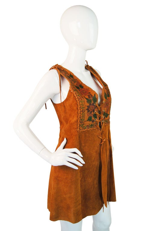 1970s Hand Painted Corset Char Vest For Sale 2