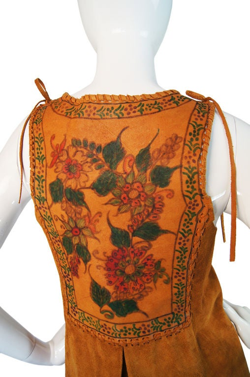 1970s Hand Painted Corset Char Vest For Sale 5