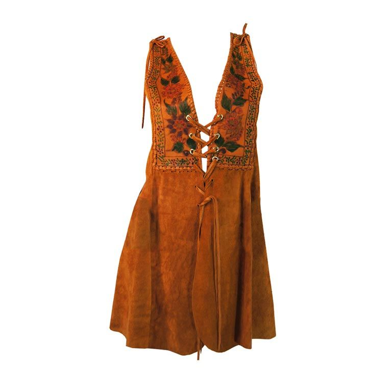 1970s Hand Painted Corset Char Vest For Sale