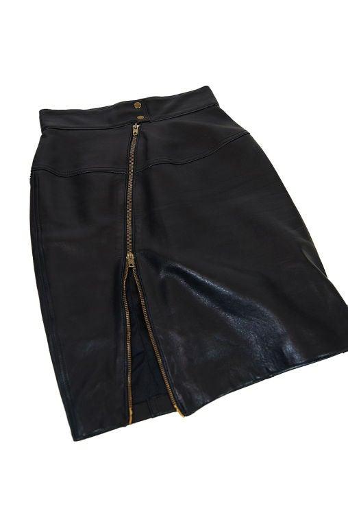 1980s Alaia Leather Mini Zipper Skirt 2