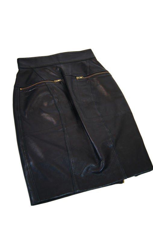 1980s Alaia Leather Mini Zipper Skirt 3