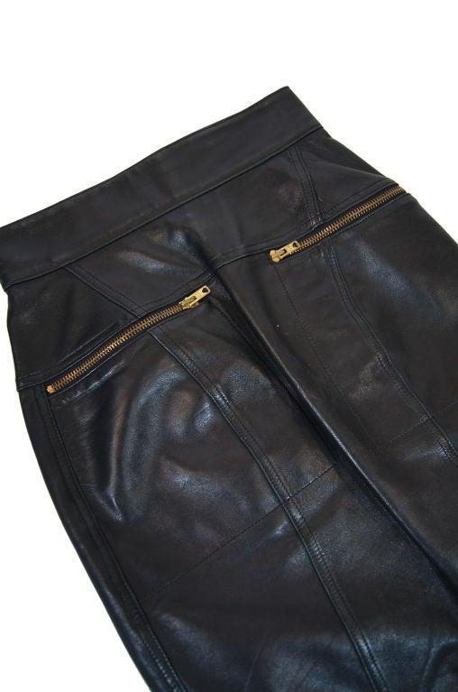 1980s Alaia Leather Mini Zipper Skirt 4