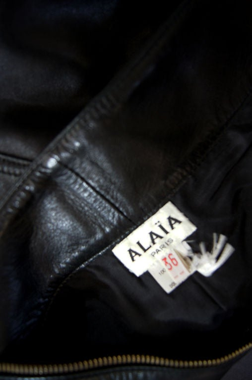 1980s Alaia Leather Mini Zipper Skirt 5