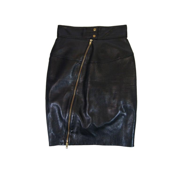1980s Alaia Leather Mini Zipper Skirt 1