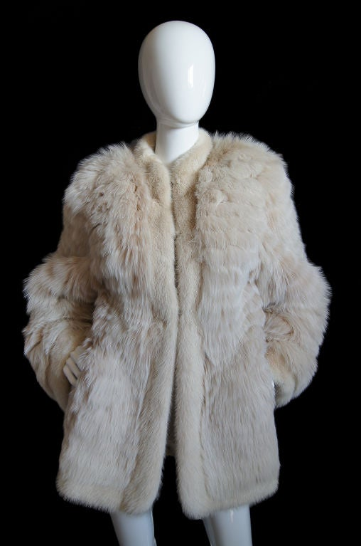1970s YSL Feathered Fox Fur Jacket 2
