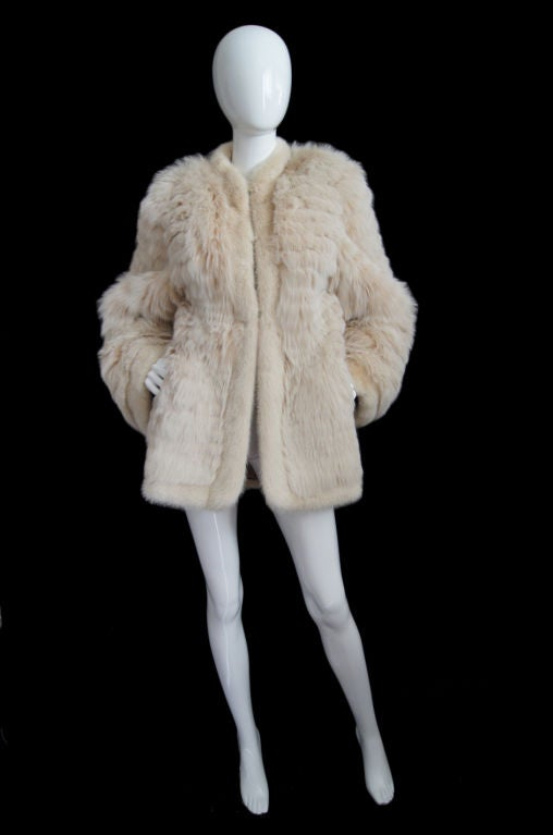 1970s YSL Feathered Fox Fur Jacket 3