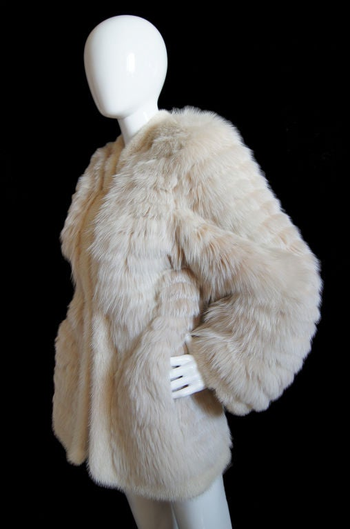 1970s YSL Feathered Fox Fur Jacket 5