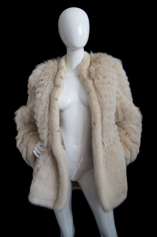1970s YSL Feathered Fox Fur Jacket 6