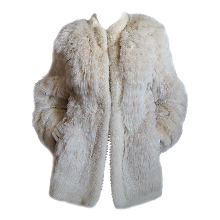 1970s YSL Feathered Fox Fur Jacket 1