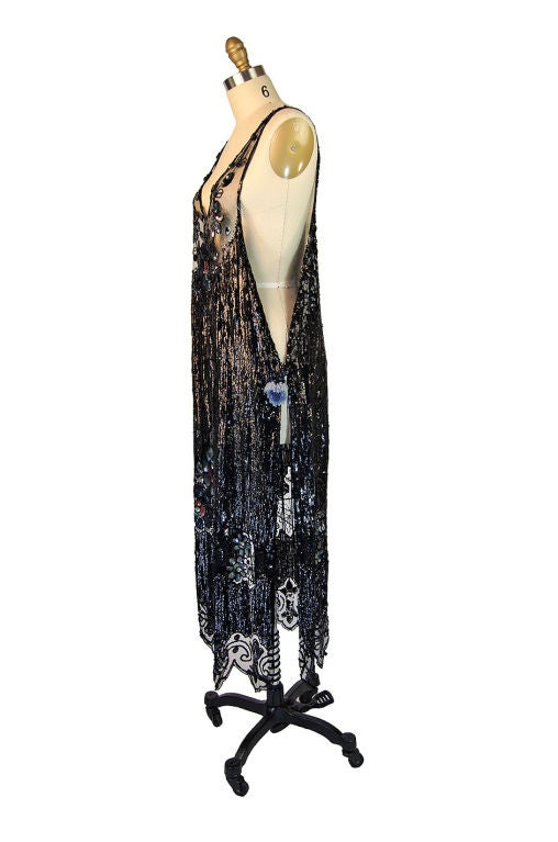 1920s Silk Net Sequin Flapper Over Dress 2