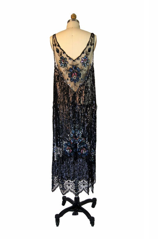 1920s Silk Net Sequin Flapper Over Dress 3