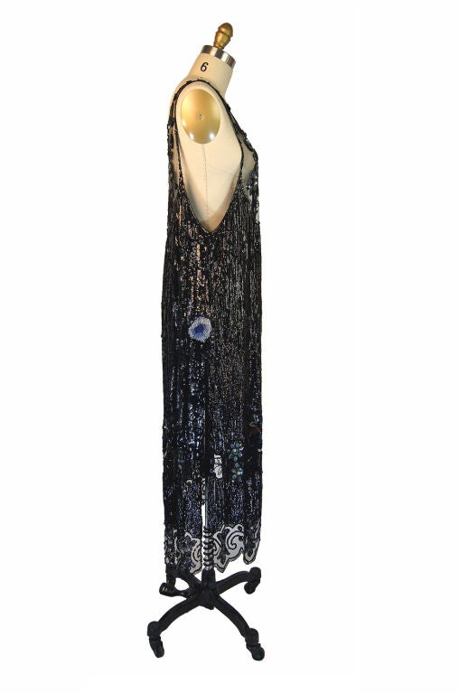 1920s Silk Net Sequin Flapper Over Dress 4
