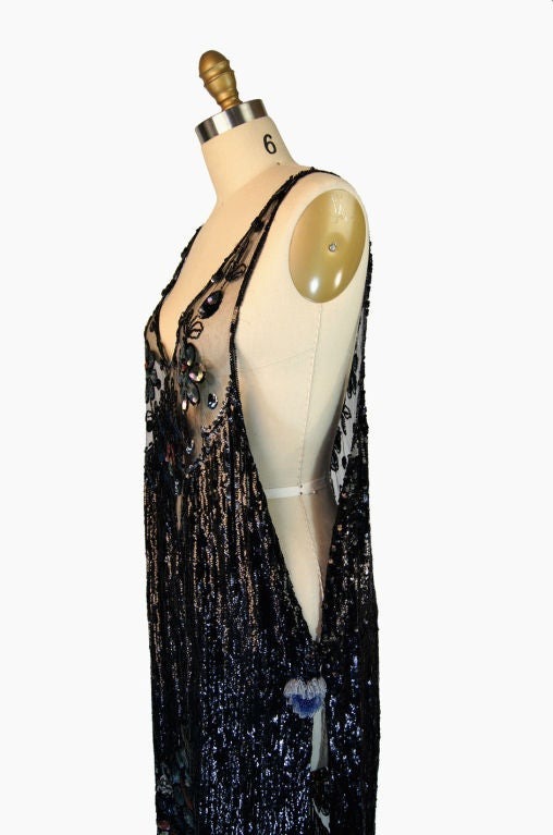 1920s Silk Net Sequin Flapper Over Dress image 6