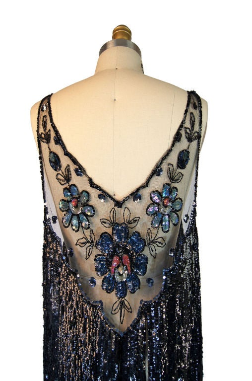 1920s Silk Net Sequin Flapper Over Dress image 7