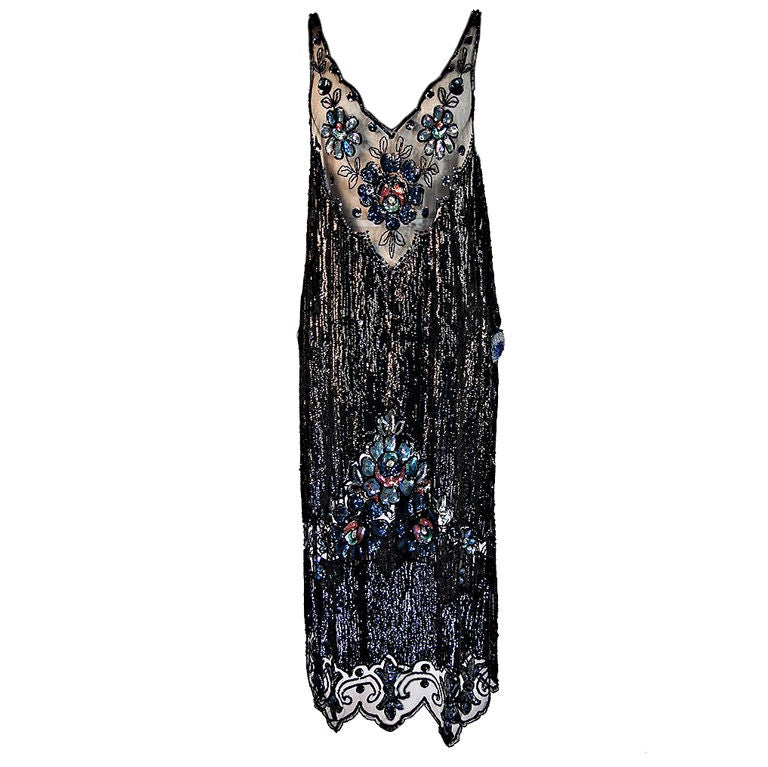 1920s Silk Net Sequin Flapper Over Dress 1
