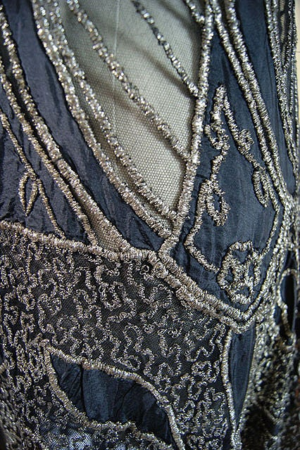 1920s Metallic Thread on Silk Flapper Dress image 10