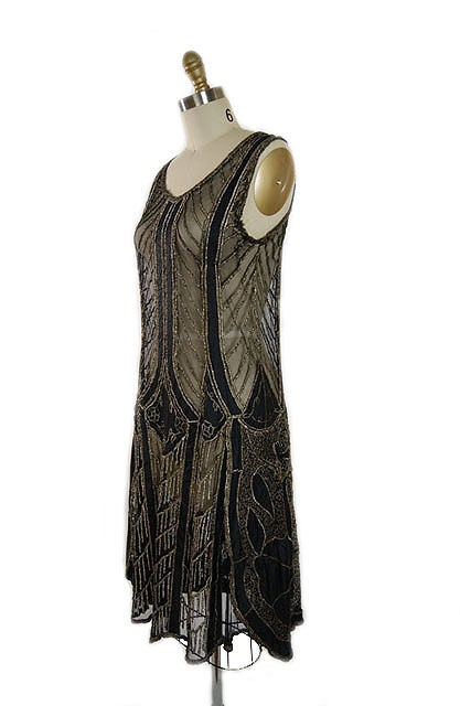 1920s Metallic Thread on Silk Flapper Dress image 3