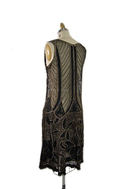 1920s Metallic Thread on Silk Flapper Dress image 4