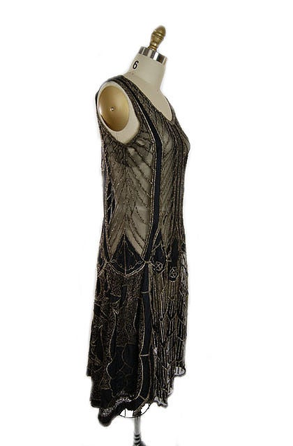 1920s Metallic Thread on Silk Flapper Dress image 5