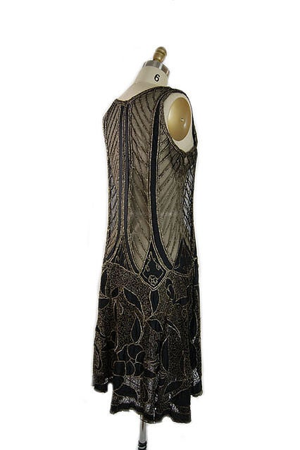 1920s Metallic Thread on Silk Flapper Dress image 6