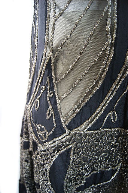 1920s Metallic Thread on Silk Flapper Dress image 8