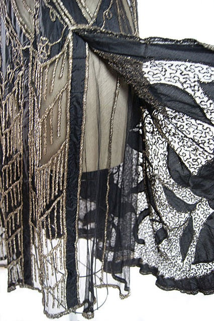 1920s Metallic Thread on Silk Flapper Dress image 9