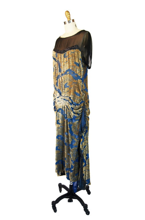 Women's 1920s Blue Silk Devore Beaded Flapper For Sale